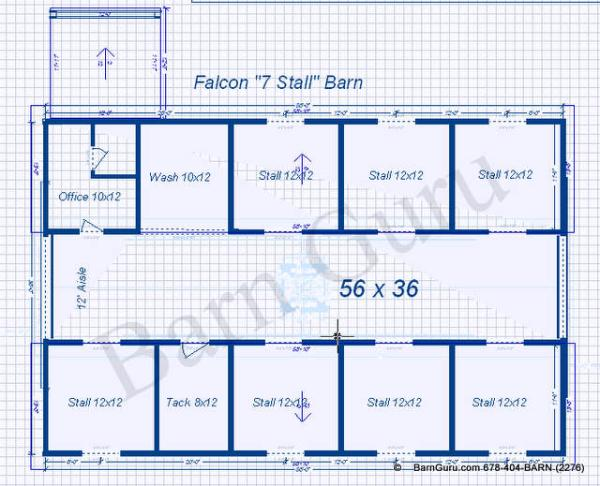 7 stall horse barn plans for Horse barn layouts floor plans