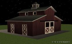 2 Stall Monitor Style Horse Barn Design Plan In Ga
