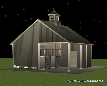 Barn plans 2 stall horse barn design floor plan for Barn plans for sale