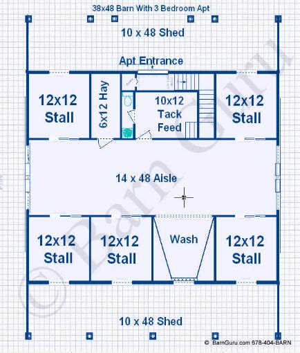 Compare barn plans with living quarters 4 5 stalls 3 for 4 stall horse barn plans