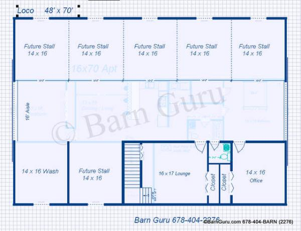 My project horse barn plans with living quarters for Live in barn plans