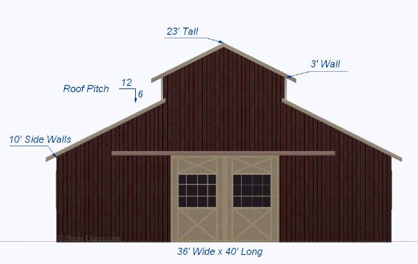 Horse Barn Design 36 X 40 Shell Monitor Style Horse Barn