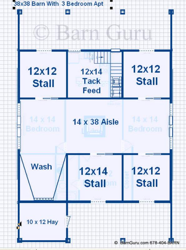 Barn plans with living quarters 4 stalls 3 bedrooms for Horse barn with apartment floor plans