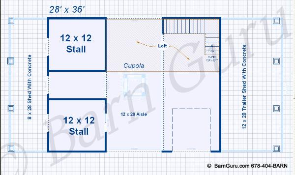 2 stall horse barn plan with loft barn builder in north ga for Free 2 stall horse barn plans