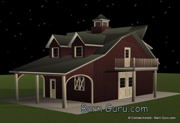 2stall barn with living quarter joy studio design for Barn plans with living quarters