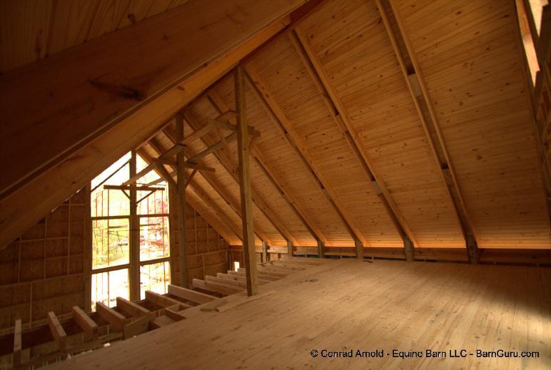 Passive solar barn home for T g roof decking