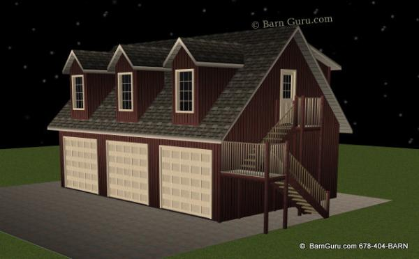 3 Car Garage With 1 Bedroom Living Quarters   Barn Guru.com