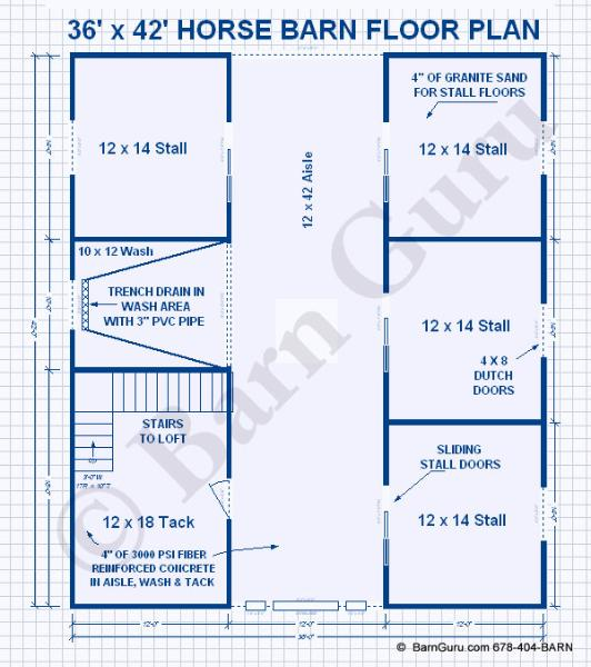 Barn Plans -4 Stall Horse Barn - Design Floor Plan- The Jenna