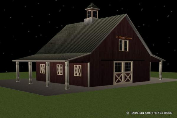 Horse barn plans with living quarters for Equestrian barn plans