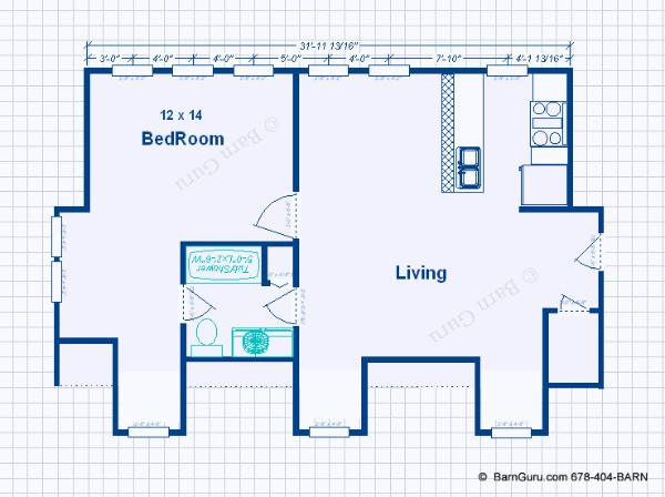 3 Car Garage With Living Quarters - Design Floor Plan