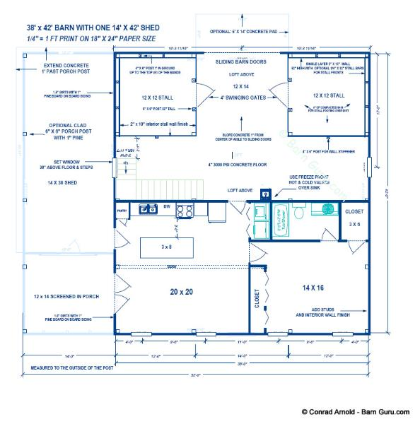 2 stall horse barn plan with living quarters for Purchase floor plan