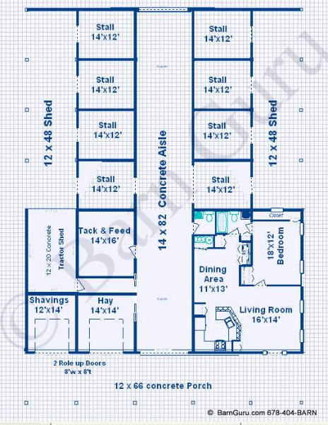 Barn Plans 8 Stall Horse Barn Design Floor Plan