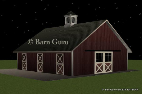 Barn plans 4 stall horse barn design floor plan the jenna for 4 stall barn designs