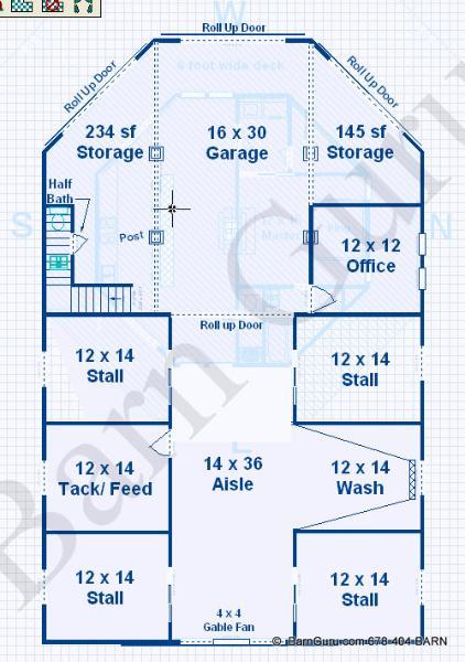 Barn Plans -4 Stall Horse Barn - Living Quarters Design Floor Plan