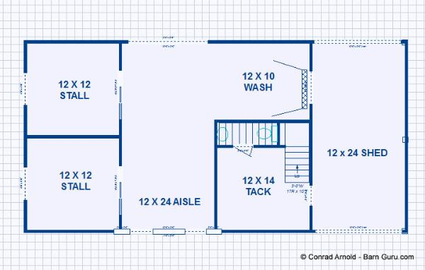 Barn plans 2 stall horse barn with living quarters for Free 2 stall horse barn plans