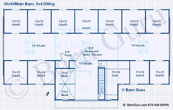 11 Stall Horse Barn Design Plans With Living Quarters
