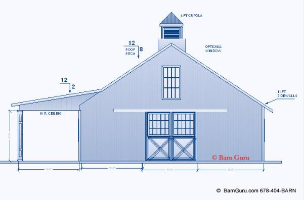Barn Plans - 4 Stall Horse Barn Plans - Design Floor Plan