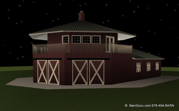Barn plans 4 stall horse barn living quarters design for 3 car garage plans with living quarters