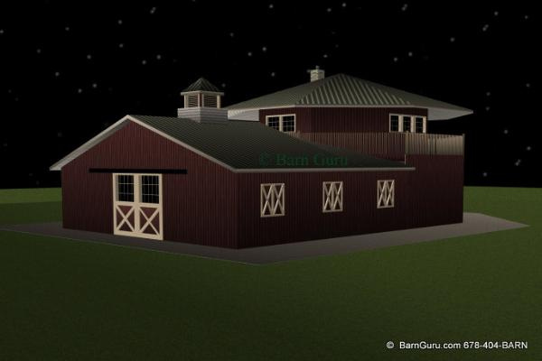 Barn plans 4 stall octagon horse barn living quarters for 4 stall horse barn
