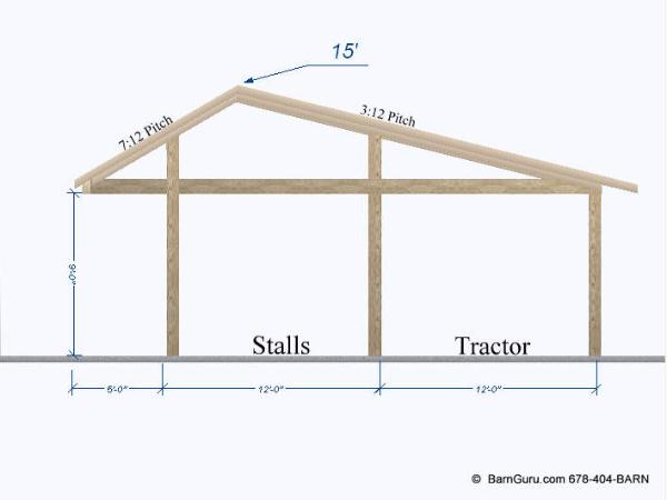 Run - in 3 Stall Horse Barn - Lean to Tractor Shed - Design Plans
