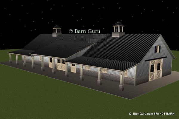 Front Elevation Plan And Side Elevation : Barn plans stall horse design floor plan