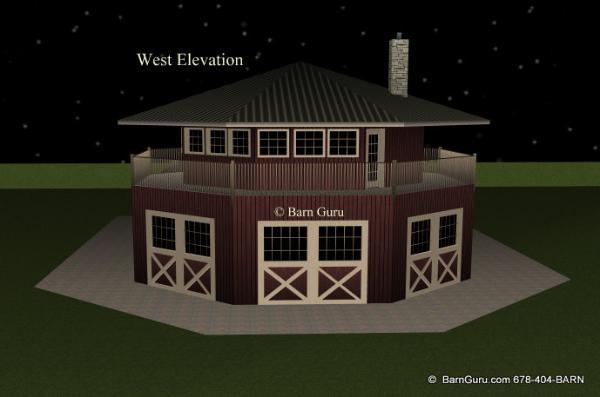 Barn Plans 4 Stall Octagon Horse Barn Living Quarters
