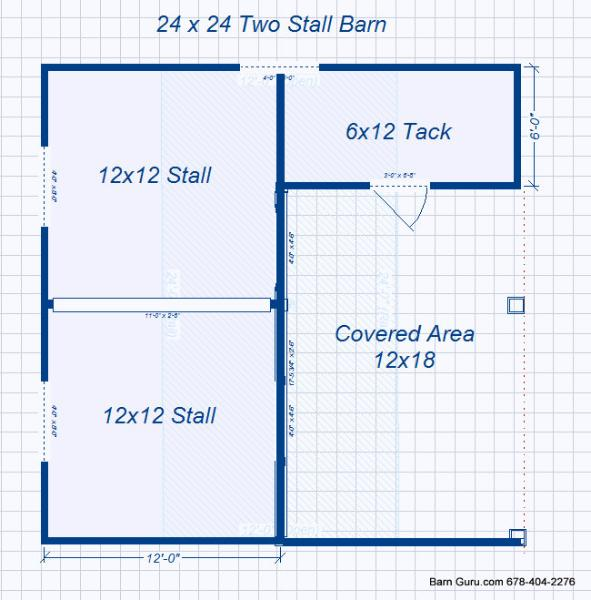 Barn plans 2 stall horse barn design floor plan for Horse barn layouts floor plans