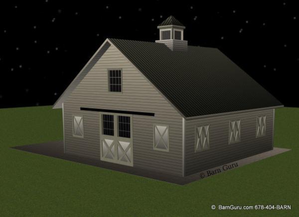 Rear Elevation Plan : Barn plans stall horse design floor plan
